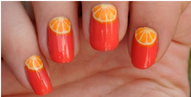 How to Get Orange Wedge Nails